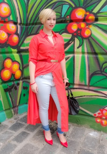 Coral Shirt Dress, jeans, pumps